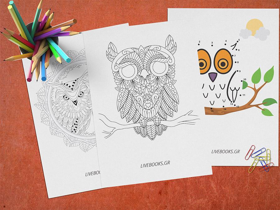 ζωγραφιές για παιδιά κουκουβάγια